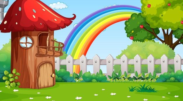 Natuur landschap scène achtergrond met paddestoel huis