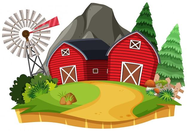 Natuur landschap van landbouwgrond met rode schuur