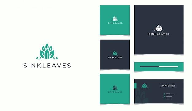 Natuur logo aangevuld met visitekaartje ontwerpsjabloon