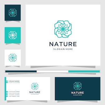 Natuur logo met bloem lijn kunststijl. logo's kunnen worden gebruikt voor spa, schoonheidssalon, decoratie, boetiek. en visitekaartje