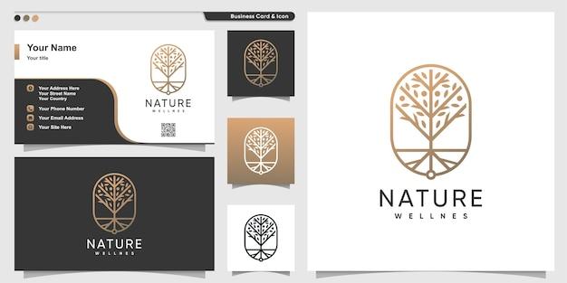 Natuur logo met gouden luxe lijn kunststijl en visitekaartje ontwerp, boom, goud