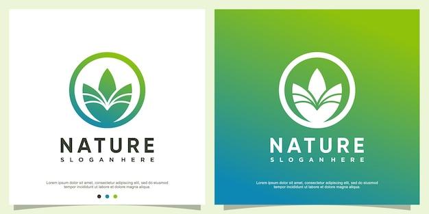 Natuur logo sjabloon met modern bladconcept premium vector