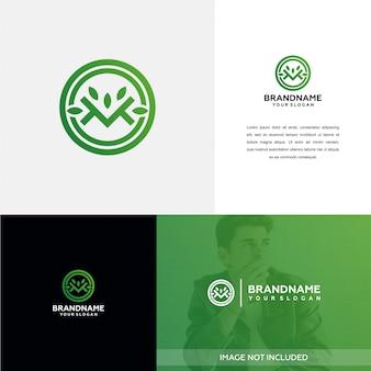 Natuur m-logo ontwerpinspiratie