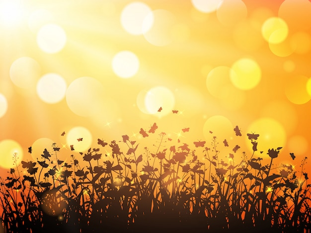 Natuur met wilde bloemen en vlinders op oranje onscherpe achtergrond