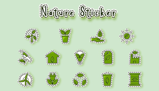 Natuur milieu kleurrijke sticker