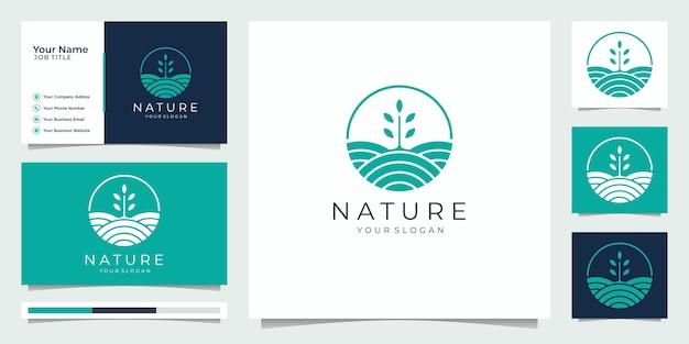 Natuur minimalistisch eenvoudig en elegant groei ontwerpsjabloon, logo ontwerp, visitekaartje.
