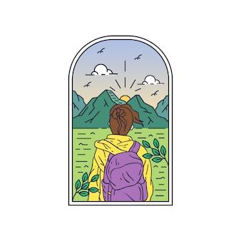 Natuur monoline-badge