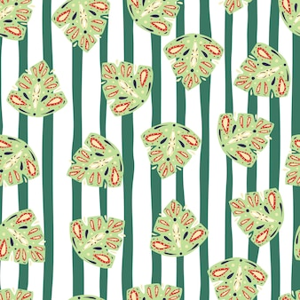 Natuur naadloos patroon met willekeurige lichtgroene volksmonsterabladeren