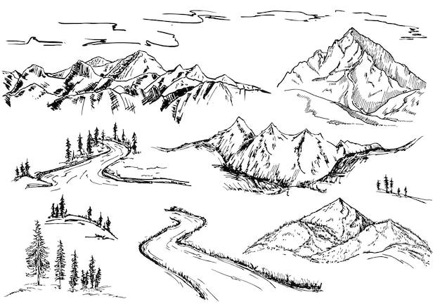 Natuur ontwerpelementen bergen bomen en bos schets set berglandschap elementen hand getrokken