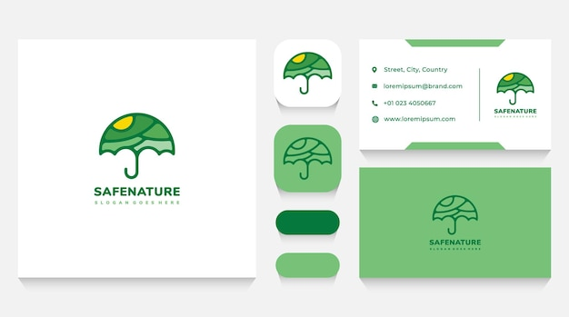 Natuur paraplu logo sjabloon en visitekaartje