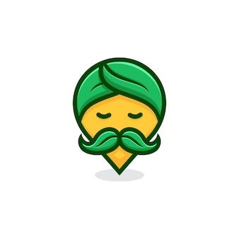 Natuur pin goeroe logo concept.