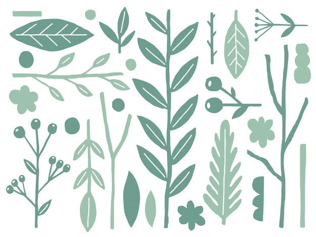 Natuur platte naïeve set. planten vorm geïsoleerd op wit. minimalistische stijlfantasie.