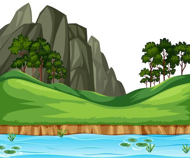 Natuur rivierlandschap achtergrond