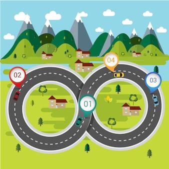 Natuur routes concept infographic.