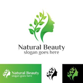 Natuur schoonheid vrouw met blad logo sjabloon
