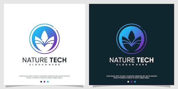 Natuur tech logo-ontwerp premium vector