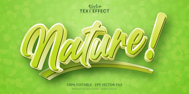 Natuur tekst cartoon stijl bewerkbaar teksteffect