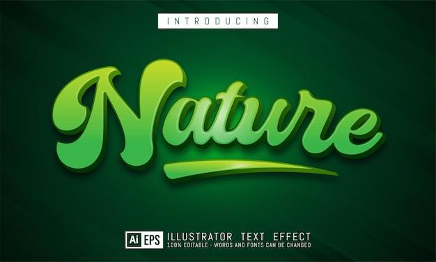 Natuur teksteffect, bewerkbare driedimensionale tekststijl