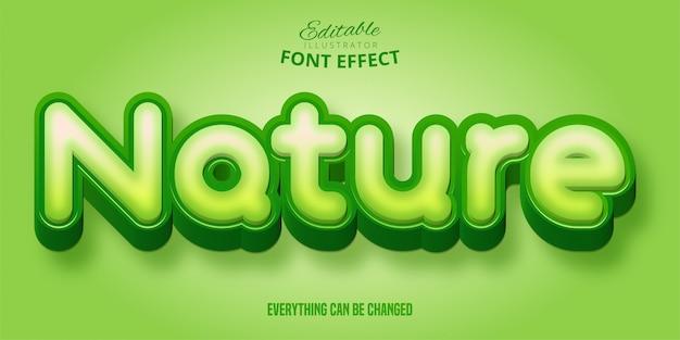 Natuur teksteffect, groene bewerkbare tekenstijl