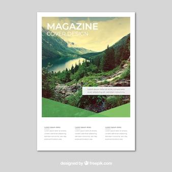 Natuur tijdschrift omslagsjabloon met foto