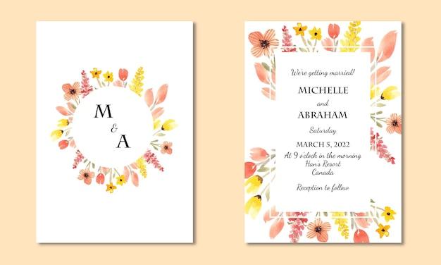 Natuur uitnodigingskaartsjabloon met aquarel bloemen achtergrond