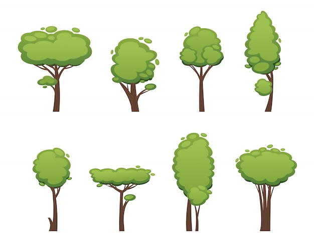 Natuur vector gesneden boom collectie elementen
