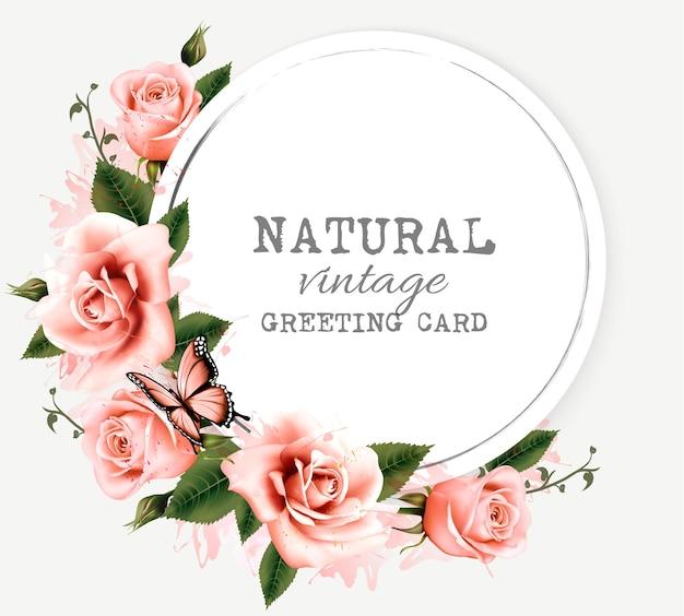 Natuur vintage wenskaart met schoonheid bloemen en vlinder. vector.