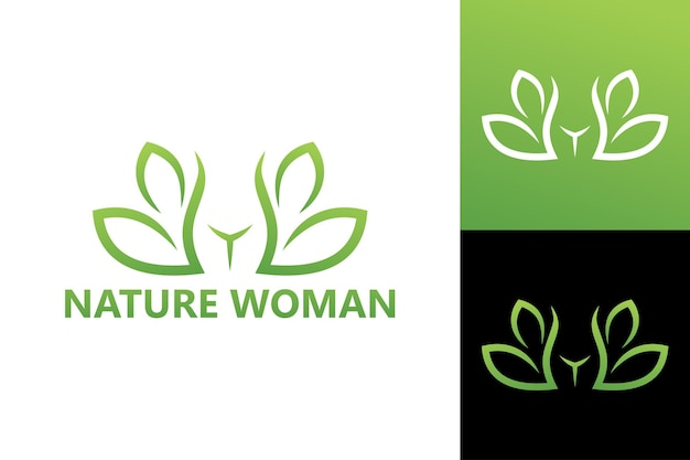 Natuur vrouw lichaam logo sjabloon premium vector