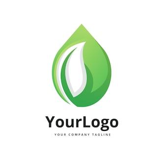 Natuur water en bladeren logo premium logo premium vector