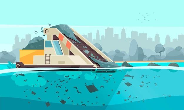 Natuur watervervuiling samenstelling met silhouet stadsgezicht illustratie en transportband machine morsen afvaldeeltjes in water Premium Vector