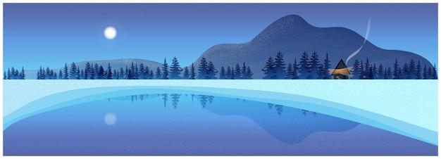 Natuur winterlandschap achtergrond met bergen en bevroren meer.