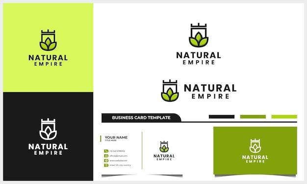 Natuurblad met schild en kroon logo-ontwerp en sjabloon voor visitekaartjes