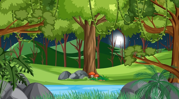 Natuurbos bij nachtscène met veel bomen