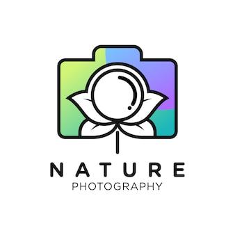Natuurfotografie eenvoudig verloop logo ontwerp