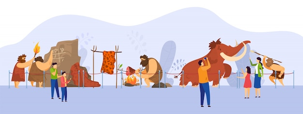 Natuurhistorisch museum, expositie van primitieve mensen, stripfiguren van bezoekers, illustratie