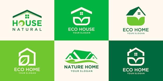 Natuurhuislogo gecombineerd blad met groene kleur, kan als symbolen voor uw bedrijf worden gebruikt.