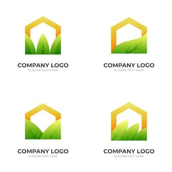 Natuurhuislogo, huis en blad, combinatielogo met 3d-kleurrijke stijl