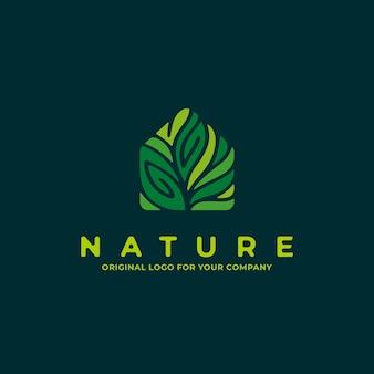 Natuurhuislogo met groene kleur kan worden gebruikt als symbolen, merkidentiteit, bedrijfslogopictogrammen, enz