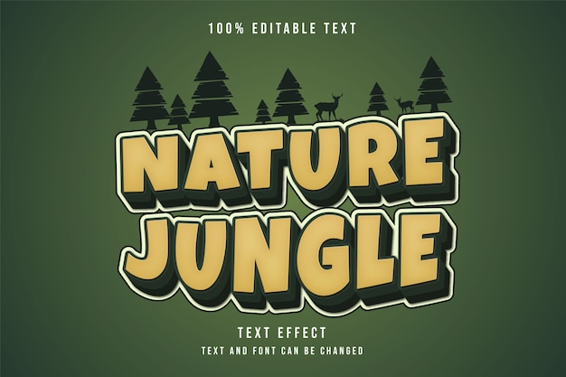 Natuurjungle, bewerkbaar teksteffect gele gradatie groene komische tekststijl