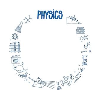 Natuurkunde doodle met licht prisma boeken atoom en verschillende experimenten cirkelframe met wetenschap