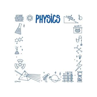 Natuurkunde doodle met licht prisma boeken atoom en verschillende experimenten vierkant frame met wetenschap