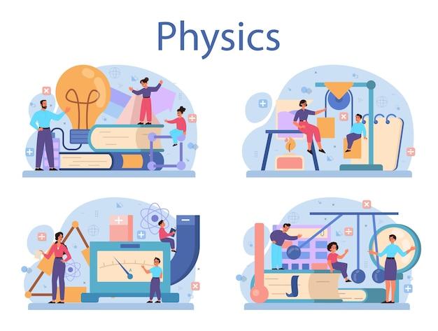 Natuurkunde school onderwerp concept set. wetenschappers onderzoeken elektriciteit, magnetisme, lichtgolven en krachten. theoretische en praktische studie. natuurkunde cursus en les.
