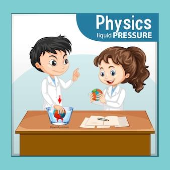 Natuurkunde vloeistofdruk met wetenschapper kids stripfiguur