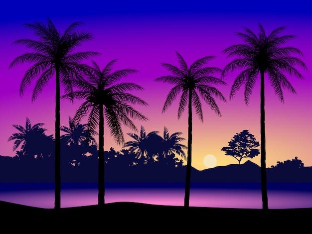 Natuurlandschap met silhouet van kokospalmen en kleurrijke hemel bij zonsondergang