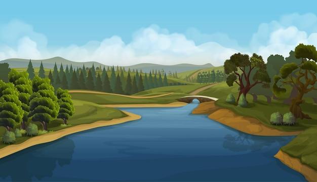 Natuurlandschap, rivier, achtergrond