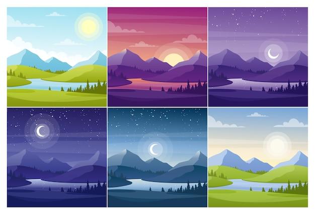 Natuurlandschappen op verschillende tijdstippen voor de dag. ochtend en nacht vallei en rivier bij zonsondergang en zonsopgang