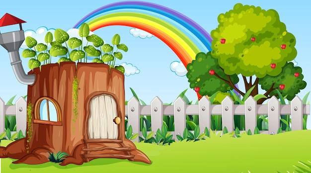 Natuurlandschapsscène met fantasieblokhuis