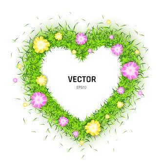 Natuurlijk eco bio love-symbool. 3d-afbeelding van hart gemaakt van groen gras en bloemen geïsoleerd op een witte achtergrond