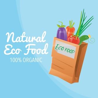 Natuurlijk eco food. 100% biologisch voedsel. gezond eten. papieren zak met eco food.
