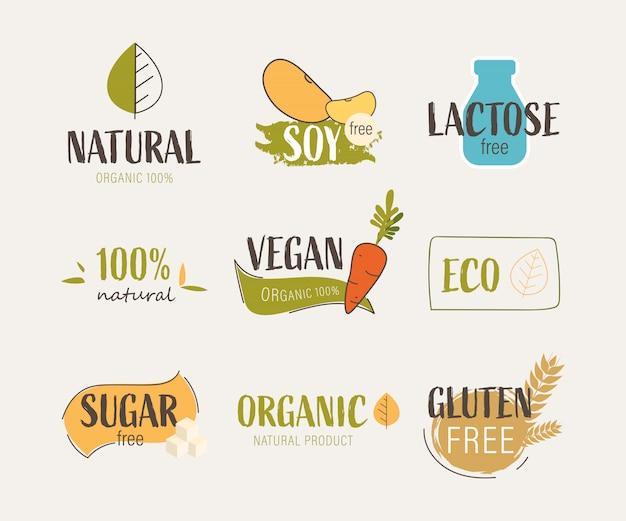 Natuurlijk etiket en vers organisch banner landbouwembleem